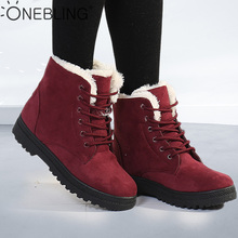 OneBling plate forme plat Martin bottes 2019 hiver courte peluche chaud fourrure à lacets bottines femmes grande taille femme neige chaussons