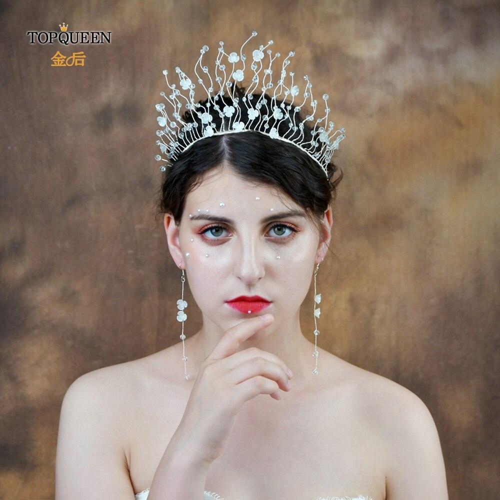 TOPQUEEN HP204 Bridal Hair Accessories Bridal Tiara Plastic Flower Wedding Tiara And Crown Crystal Bride Hair Jewelry Handmade