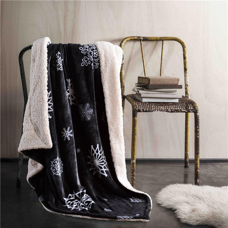 Lambskin Large Warm Thick deer Snowflake Pentagr Throw Blanket Coverlet Reversible Fuzzy Plaid for Bed Couch Sofa Cover Bedsheet