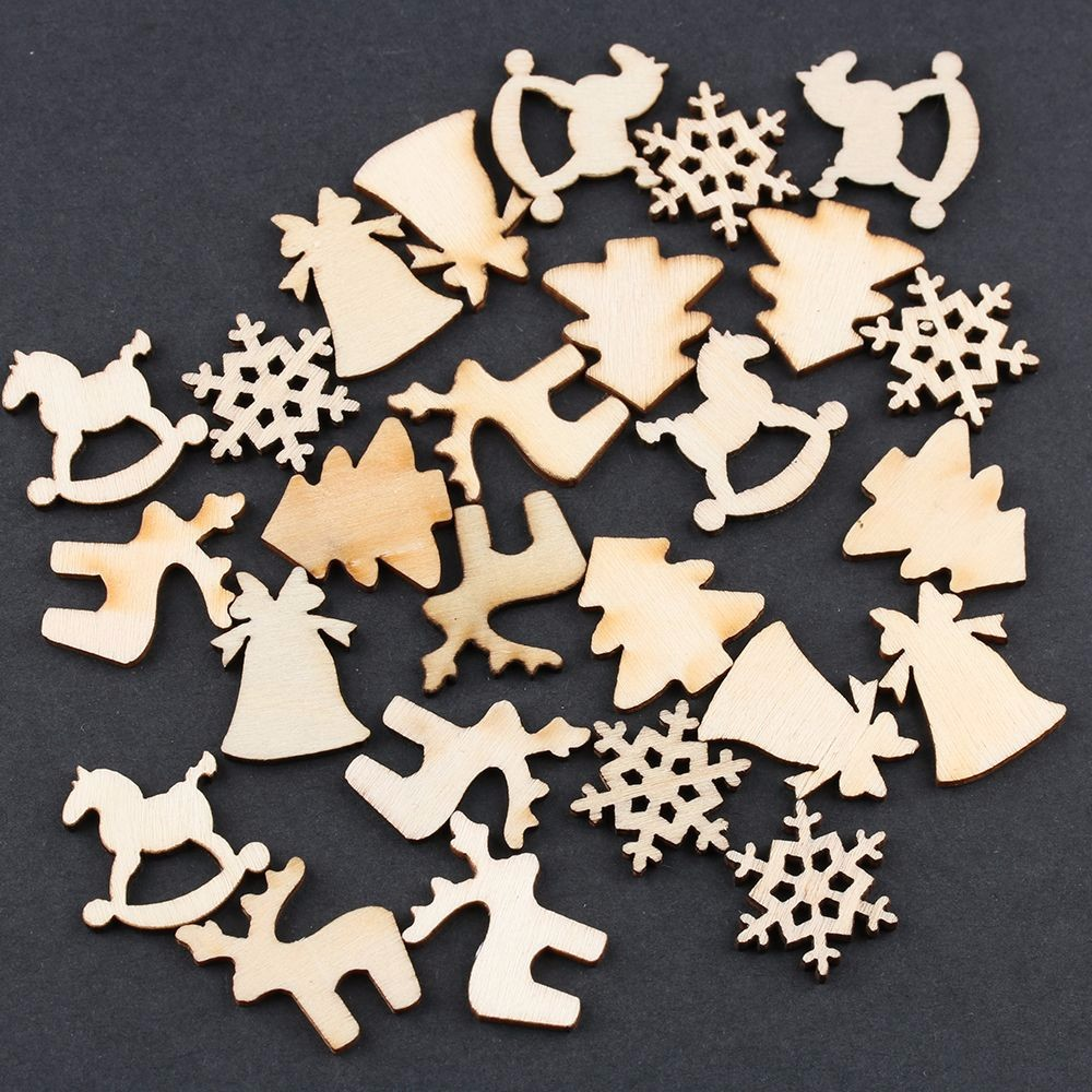 Lot 5 Designs 20mm Natural Wood Christmas Ornaments Reindeer Tree  Snow Flakes Rocking Horse