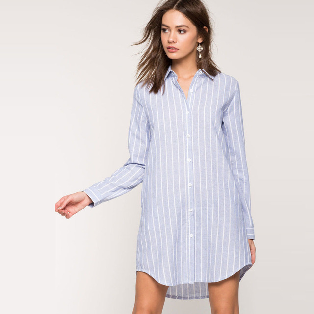 796ed20b8c9 White and blue striped shirt dress for women casual loose long sleeve button  down dress ladies