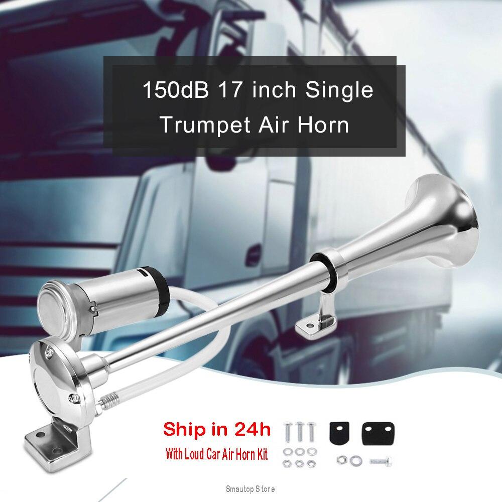 150DB 12v Chifre Megafone Alto Buzina De Ar Do Carro Universal 17 Polegada 12V 180 Hertz Único Trompete Compressor para caminhões Carros Automóveis