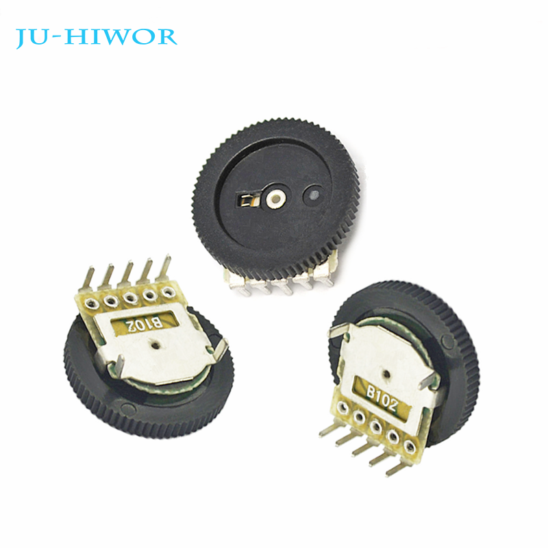 10PCS 20K Ohm B203 Gear Pulley Wheel Audio Potentiometer 16x2mm