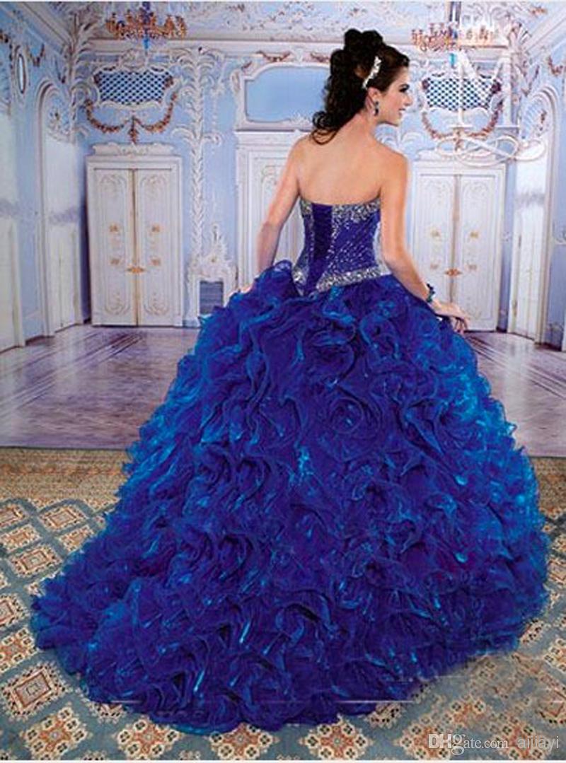a44c928a80b Cheap Royal Blue Quinceanera Dresses 2017 Ball Gown Beaded Ruffles Sweet 16  Dress Formal Gowns Vestidos De 15 Anos Grils