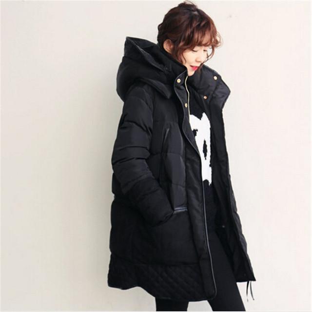 Espessamento inverno Mulheres Parkas Amassado Outerwear Revestimento das Mulheres Da Moda Algodão-Acolchoado Jacket Parka de Médio-Longo Ocasional Solto C1143