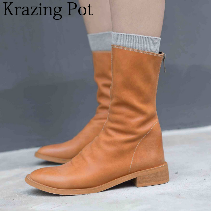 2018 New Superstar Genuine Leather Brand Winter Shoes Round Toe Motorcycle Boots Zipper Classics Runway Women Mid-calf Boots L16 2018 new superstar flock runway peep toe slip on fashion brand shoes wedges autumn spring lazy zipper mid calf boots for women