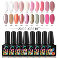 Lacheer 20Pcs Pink Color Series UV Gel Nail Polish Nail Art Glitter Hybrid Nail Gel Varnish Semi Permanent Led Nail Lacquer Kit