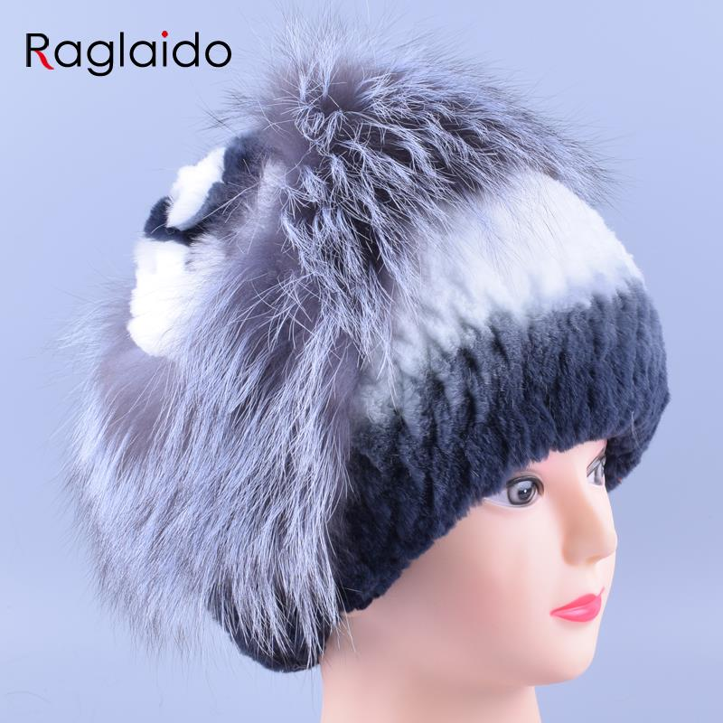 2016 Women Hats Handmade Beanie Real Fur Winter Hats Natural Genuine Rabbit +Fox Cap Warm Soft Thick Floral Headwear LQ11157