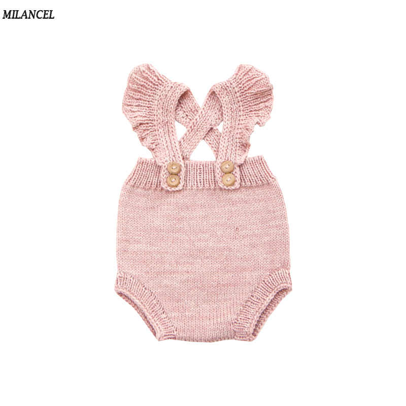 c18a72c81 MILANCEL 2018 New Baby Bodysuits Knitted Bodysuits for Baby Girls Solid  Baby Clothing Korean Style Jumpsuits