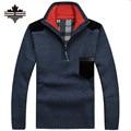 Camisolas dos homens Grossas de Inverno Quente Zíper Pullover Blusas De Lã Cashmere Homem Casual Malhas de Lã Roupas de Veludo Tamanho Grande