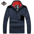 Men's Sweaters Thick Warm Winter Zipper Pullover Cashmere Wool Sweaters Man Casual Knitwear Fleece Velvet Clothing Big Size