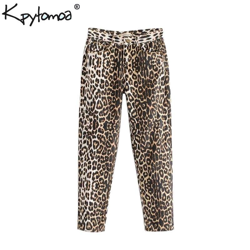 Vintage Leopard Print Jeans Women Denim Pants 2018 Fashion Z