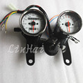 Inition switch key White Surface Motorcycle Odometer W/ LED Indicators Turn Signal +Tachometer Odometer Speedometer Gauge