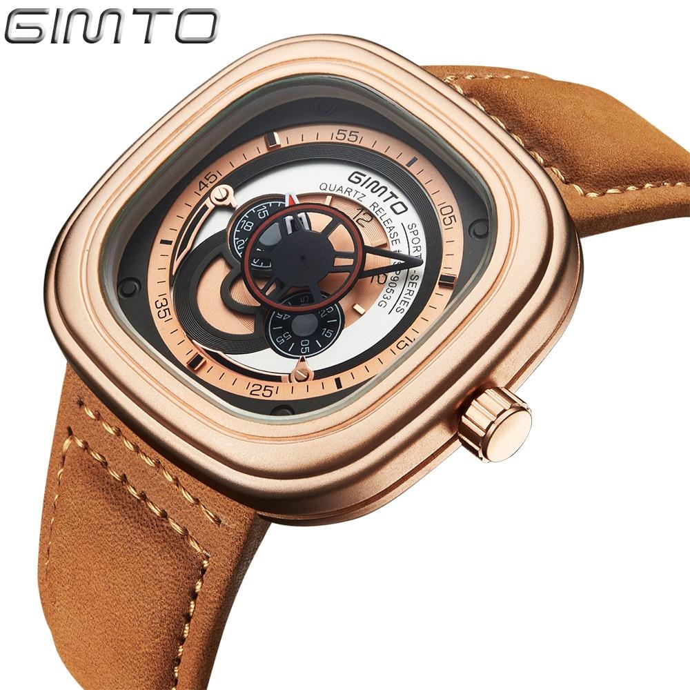 цены на Unique Men's Watches Luxury Stylish Gold Square Creative Quartz Wristwatch for Man Sport Military Male Clock Quality Gift Hour в интернет-магазинах
