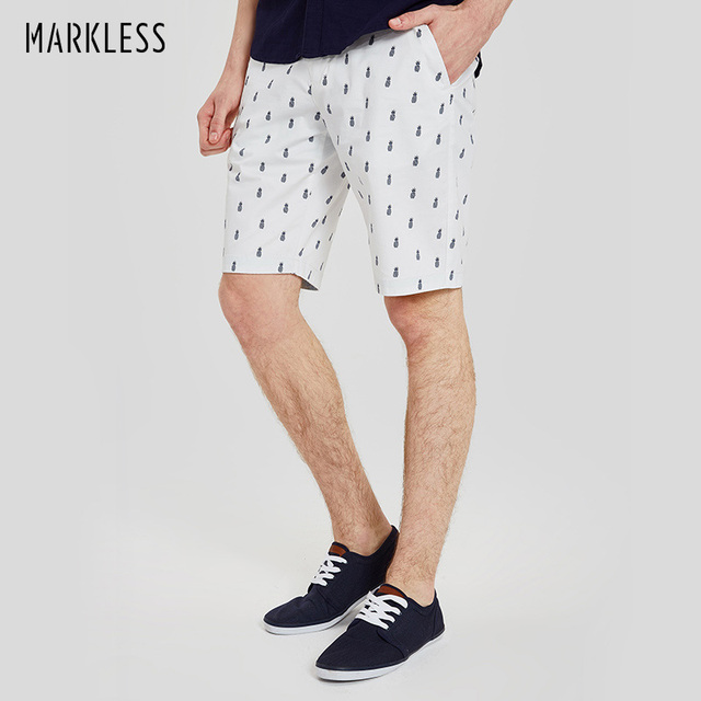 de5e94d6b3ffe Markless 98% Cotton Shorts Mens White Homme Casual Beach Shorts 2018 Fashion  Pineapple Print Male Clothing Shorts DKA7920M