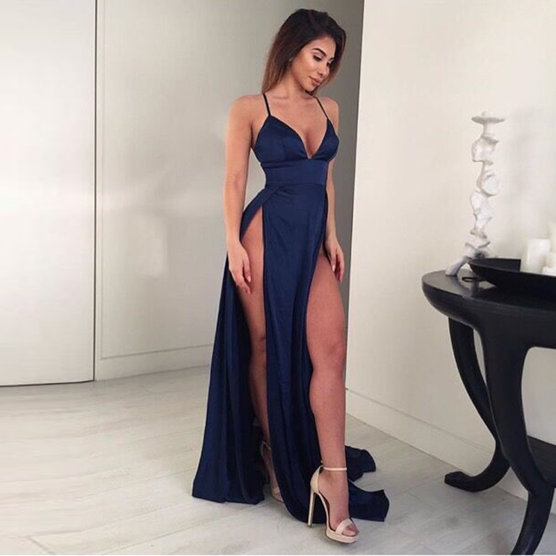 Navy Blue Satin Maxi Dress V Neck High Splits Empire Sleeveless Long Party Dress Backless Sexy Red Beach Night Club Dress