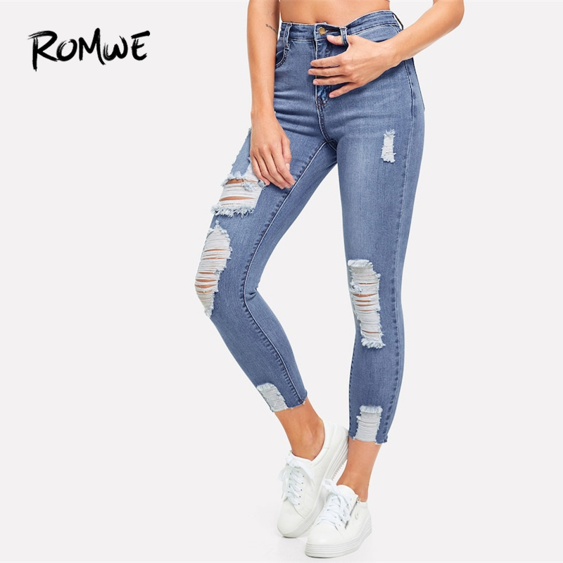 ROMWE Ripped Faded Wash Jeans 2019 Women Zipper Fly Pockets Casual Spring Autumn Pants Comfortable Cropped Mid Waist Jeans