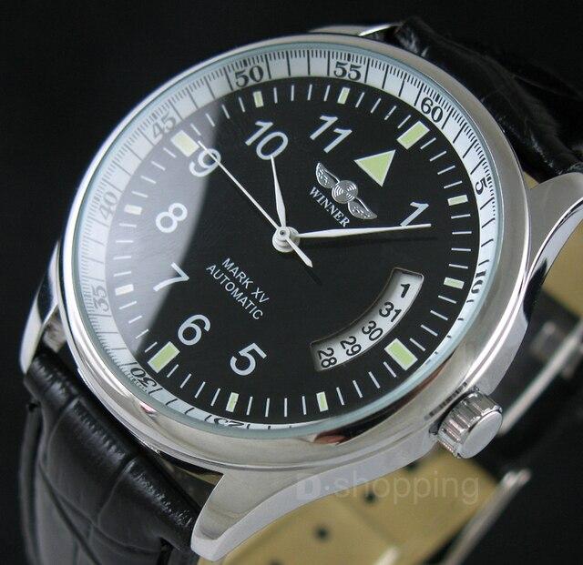 Fashion WINNER Watches Mens Self Wind Automatic Mechanical Watch AUTO Date Analog Leather Sport Men Wristwatch Relogio Masculino