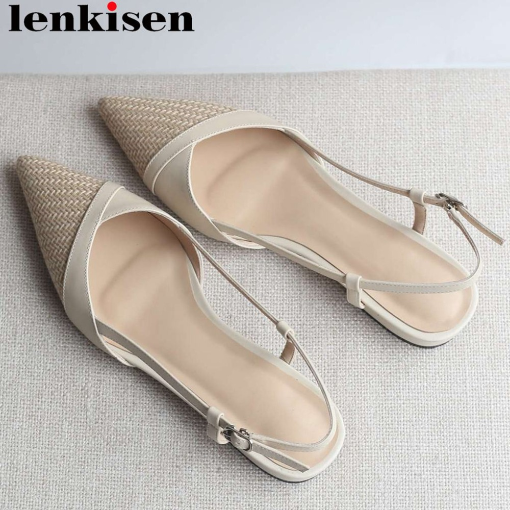Lenkisen concise style low heels buckle strap pointed toe women sandals slingback genuine leather summer elegant