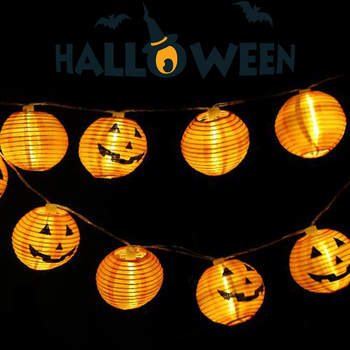 1.2m 10 LED Garland String Lights Halloween Lighting Pumpkin Lantern Party Decoration Supplies Prop Battery Powered Light JQ