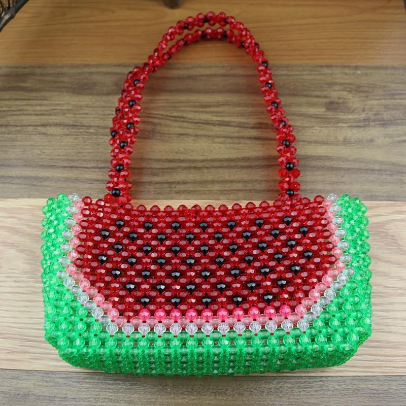 Sac de perles fait main femme sac de perles Bolsa Feminina sac à main sac de soirée rétro chemise poignée perle motif pastèque rouge sac à main - 4