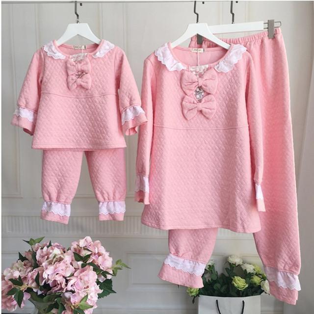Familia de la manera trajes a juego madre niños pijama conjunto madre e hija de ropa sets madre hija pijamas set home use