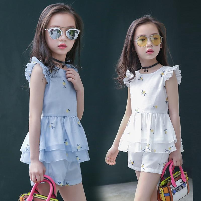 Girls Summer Set 2017 Fshion Ropa para niños Floral Organza O-cuello - Ropa de ninos