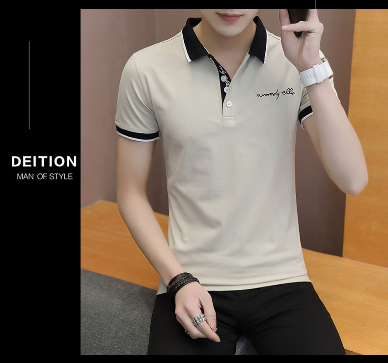 Short-sleeved T-shirt men's fashion casual cotton clothes decorated with multi-color optional 100