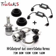 Triclicks H4 9003 HB2 Hi/Lo Headlights Error Free Canbus Car LED Head Light Bulb+Free Pair Dustproof Dust Cover+2xCanbus Harness
