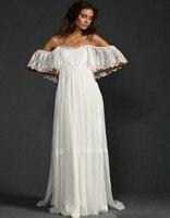 Bohemian Style Greek Wedding Dresses Long Spaghetti Straps Lace Chiffon Beach Vestido De Noiva Boho Summer