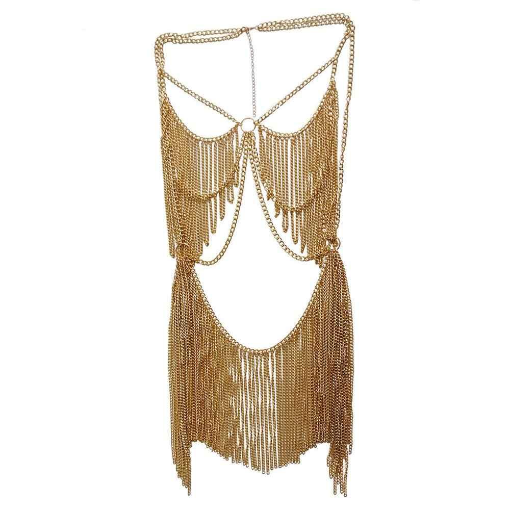 Boho Jewelry Women Metal Alloy Body Chain Set Indian Belly Chain Bikini Beach Halloween Costume Party