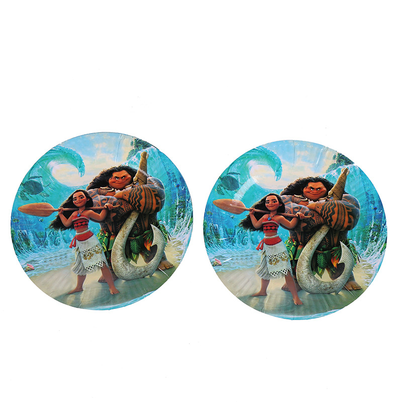 10pcs Moana Party Supplies Paper Plate Baby Shower Kids Birthday Party Favors Disposable Tableware Event Party Decoration