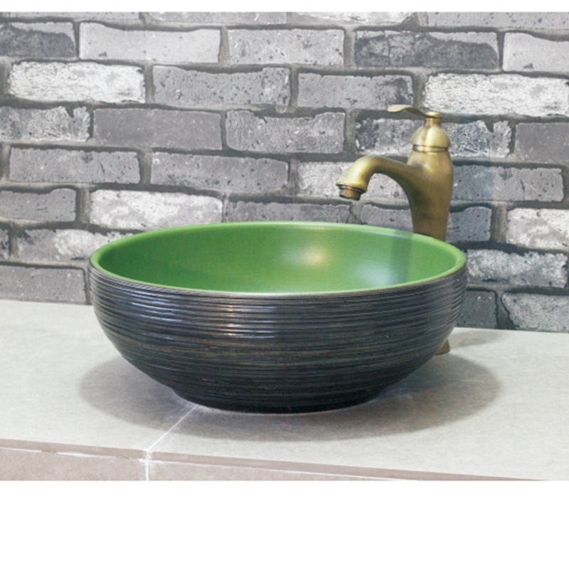 Bathroom Round Art Basin Green and Black Washbasin