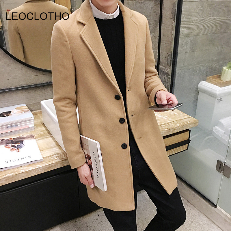 LEOCLOTHO Winter Woolen Coat Men Leisure Long Woolen Coat Men High Quality Pure Color Single Breast Trench Men Coat Windbreaker(China)