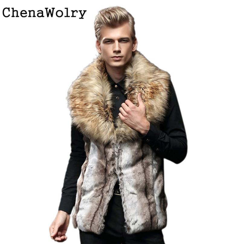 2017 New Casual Fashion Men Faux Fur Vest Jacket Sleeveless Winter Body Warm Coat Long Waistcoat Gilet Nov 29