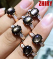 Joya de zafiro Natural anillo de seis estrellas de piedra auténtica plata de ley 925 de oro plateado joyería de las mujeres anillos de compromiso de las mujeres de piedra de nacimiento