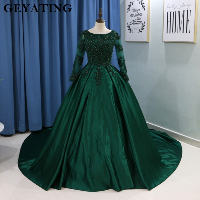 Emerald Green Lace Long Sleeves Muslim Wedding Dress 2019 Ball Gown Princess Bride Dresses Islamic Satin Court Train Bridal Gown gown