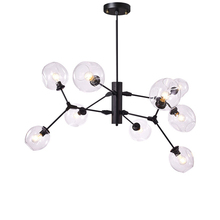 9 Head Kung Nordic Art Decoration DNA Chandelier Light Glass lampshade gold black body droplight Post Modern E27 3W led lamp
