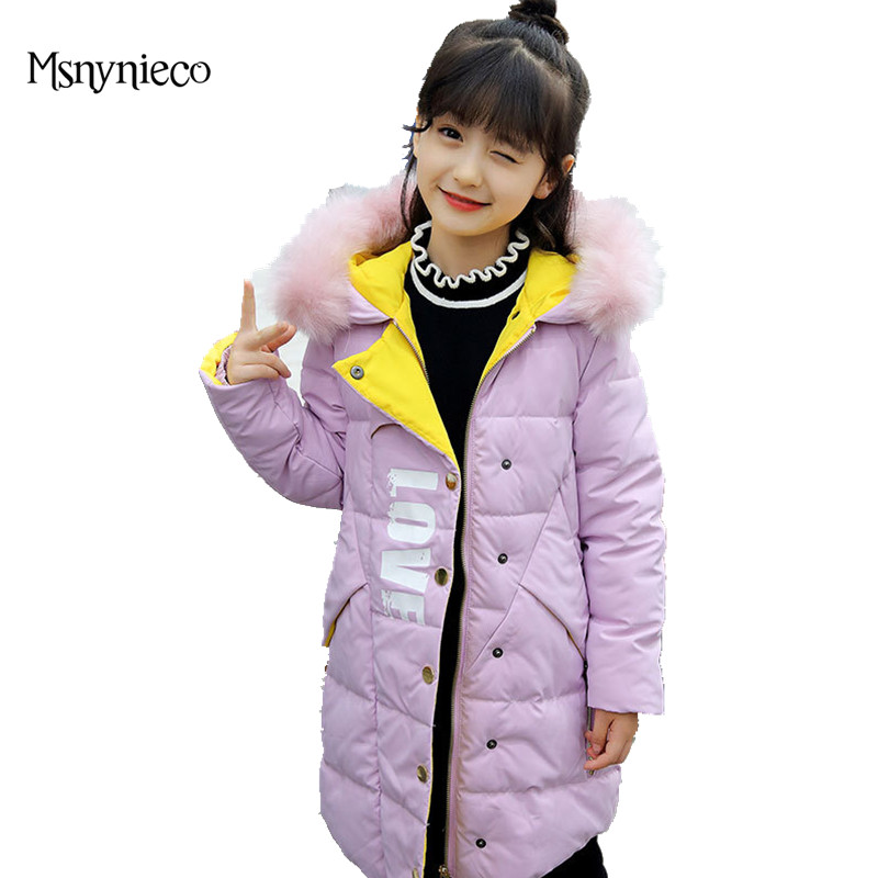 Girls Winter Coat Casual Warm Long Thick Hooded Jacket for Girls 2017 Casual Teenage Kids Outerwear Parkas Baby Girl Clothes immdos children coat for girl winter wool outerwear kids long sleeve hooded warm baby clothing girls solid fashion jacket