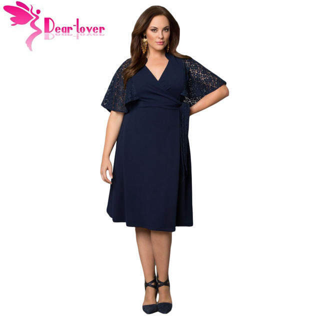b71c048b7 Dear Lover Roupas Feminina Plus Size Woman Dresses Navy Charming Lace  V-neck Big Girl Wrap Dress Vestido Casual Hot Sell LC61301