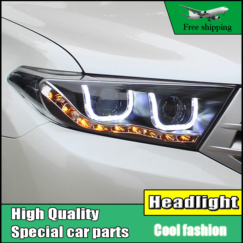 Car Styling Headlight For Toyota Highlander headlights 2012-2014 Led Head Lamp U Angel eyes DRL H7 hid Bi-Xenon Lens low beam akd car styling for nissan teana led headlights 2008 2012 altima led headlight led drl bi xenon lens high low beam parking