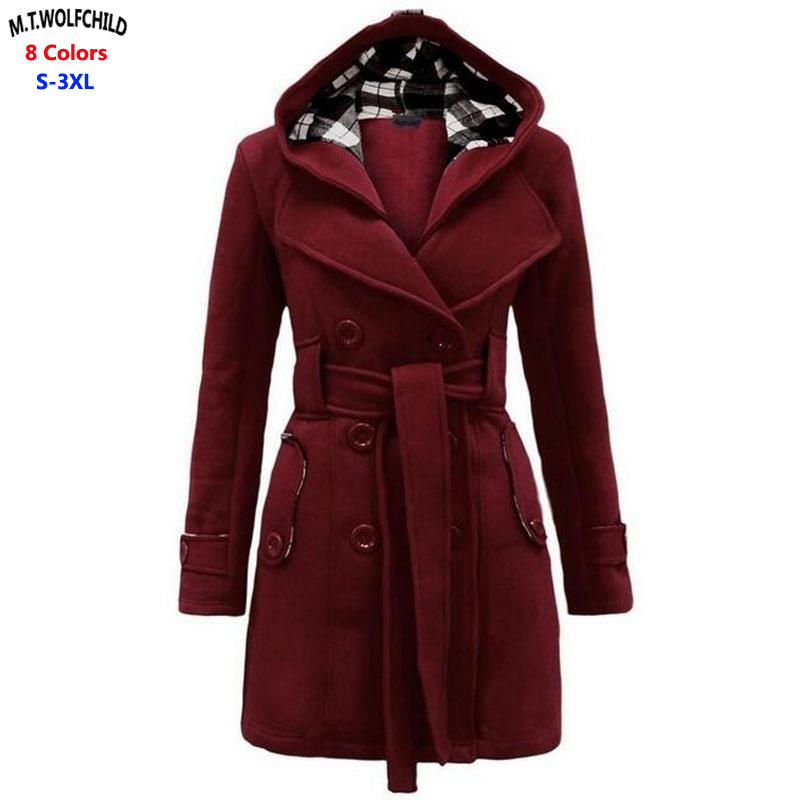 2018 Fashion Autumn Winter Womens Hooded Belted Double-Breasted   trench   coats woolen blends ladies thick Casual outerwear coats