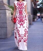 Для женщин с вышивкой платье с цветочным принтом без рукавов пляжный длинный макси платье длиной до пола Длина Свадебные Вечеринка Fomal тонк...