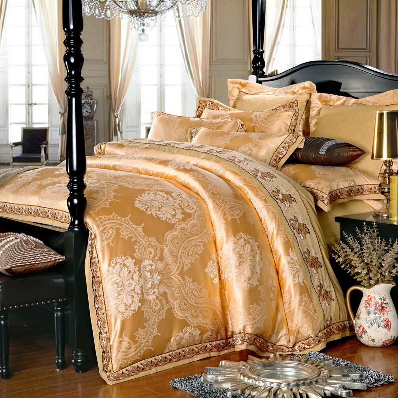 Gold Silk Luxurious Bedclothes Cotton Bed Sheets Queen
