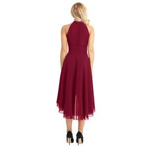 Image 3 - Tiaobug Kadınlar Bayanlar Halter Boyun Kolsuz Yüksek düşük Şifon Zarif Nedime Yaz Elbiseler Örgün Parti Balo Abiye Elbise