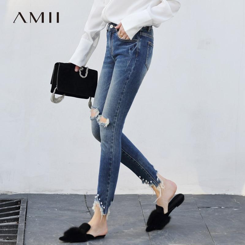 Amii Women Minimalist Denim   Jeans   2018 Chic Blue Bleach Wash Distressed Ripped Pants Skinny Pencil Female Pants