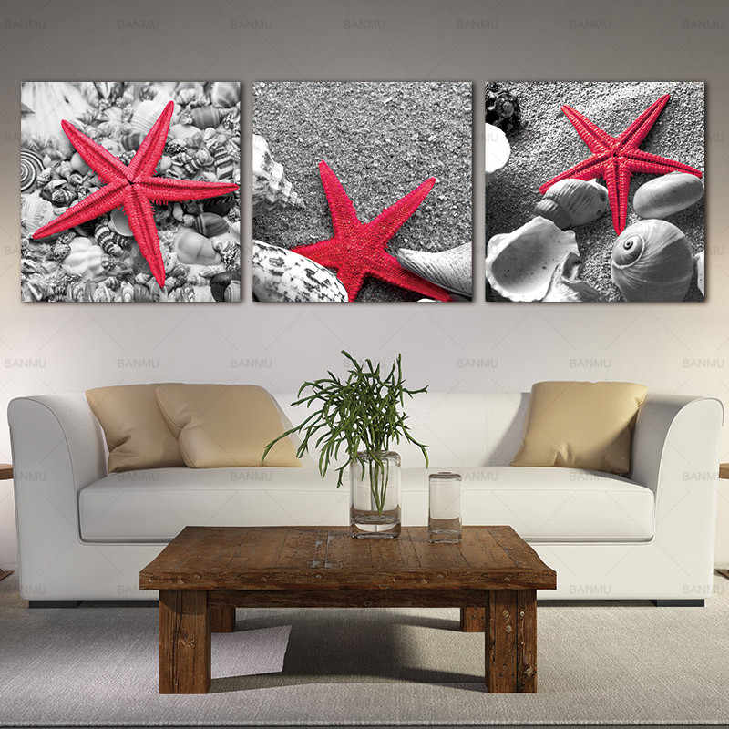 Canvas painting wall art picture print  Starfish Shells On Sandy Beach 3 Pieces Panel Paintings Modern Giclee Seascape Pictures