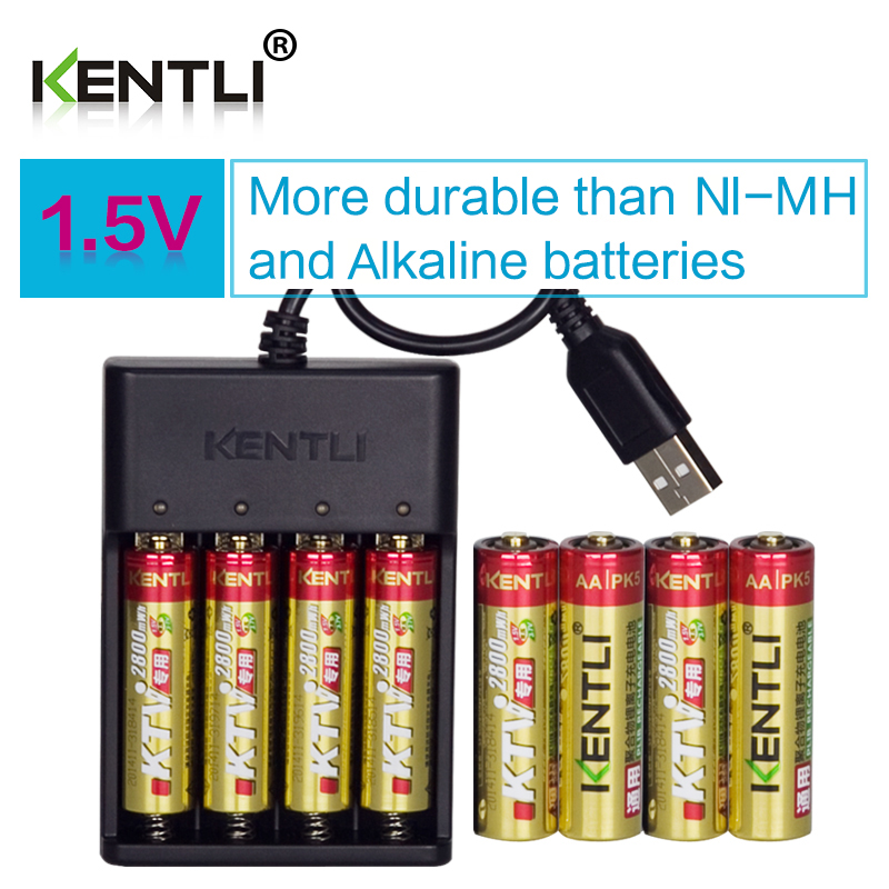 цена на 8pcs KENTLI 1.5V AA PK5 2800mWh rechargeable lithium li-ion batteries battery+ 4 slots lithium quick AA AAA charger