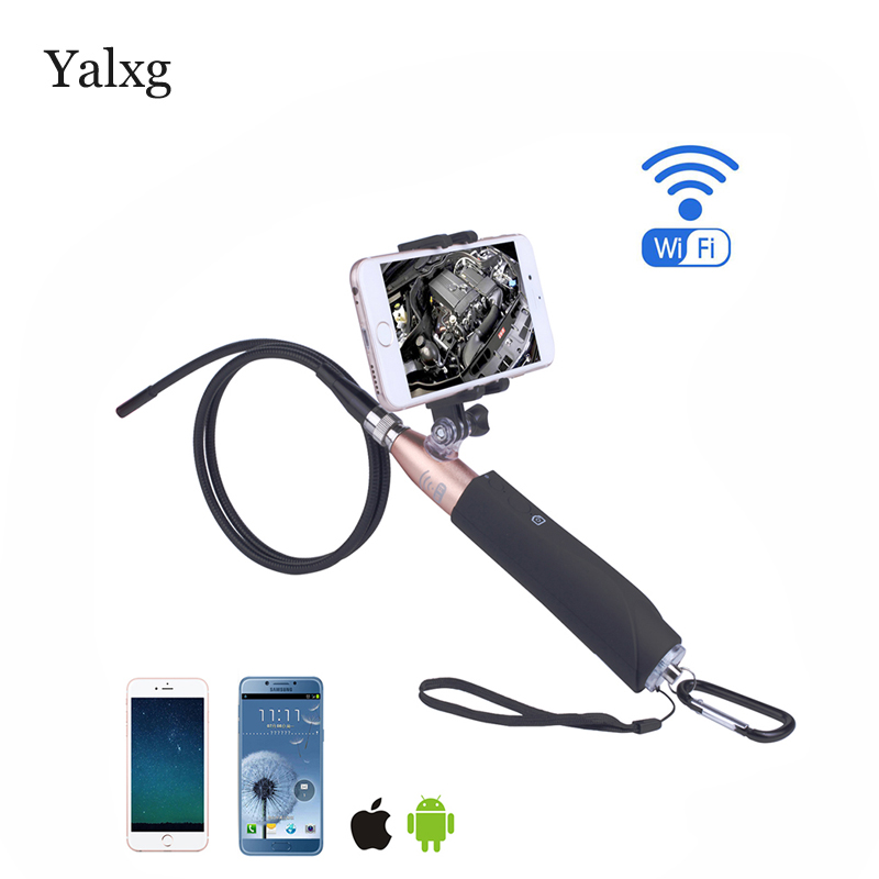 Yalxg Wifi HD Wireless Endoscope Snake Inspection Camera 8MM Lens 1m Length IP67 Waterproof Borescope Support iOS/Android trinidad wolf ios wifi endoscope 8mm lens 6 led wireless waterproof android endoscope inspection borescope camera 1m 2m 5m cable