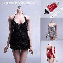1/6 action Figures  Lace Low-cut sequined skirt sexy lace-up hip dress with underpants Nightdress F large bust Seamless Body diy lace up grommet sequined mini skirt